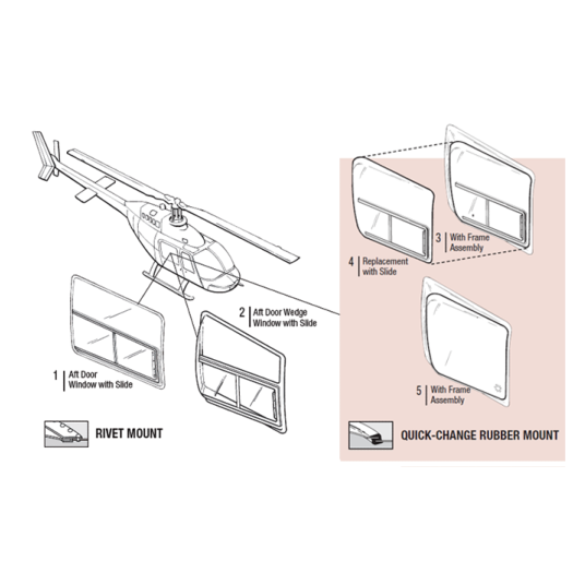 TECH-TOOL PLASTICS| AFT DOOR WEDGE WINDOWS |BELL 206A,B,L,L1,L3,L4