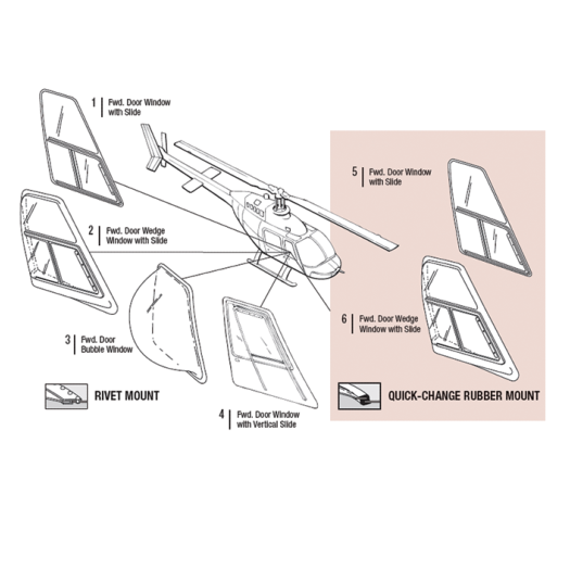 TECH-TOOL PLASTICS| FW DOOR WINDOWS |BELL 206A,B,L,L1,L3,L4